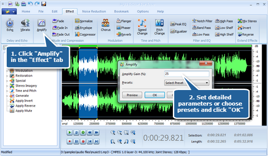 Amplify an audio file with amplify effect